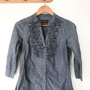 Trulli x Loft Chambray Ruffle Tunic Shirt Dress